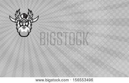 Business card showing Illustration of a head of Norse mythology god Odin with beard hat and blind on one eye viewed from front done in retro style. poster