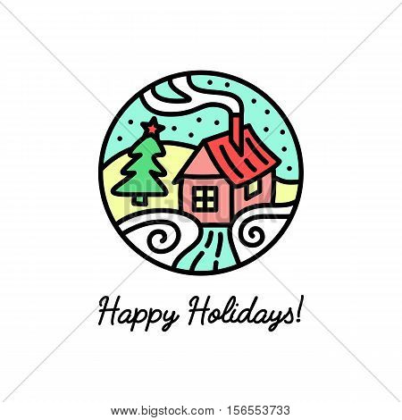 Flat line icon on the New Year's and Christmas Holiday. Cozy house in the snow.