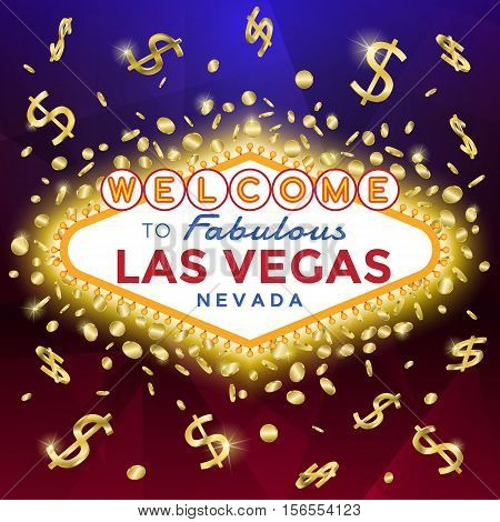 Las Vegas Sign on the dark background with burst of gold coins and banknotes.