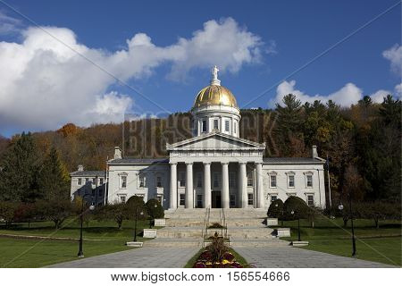 Vermont State House capital building is located in Montpelier VT USA.