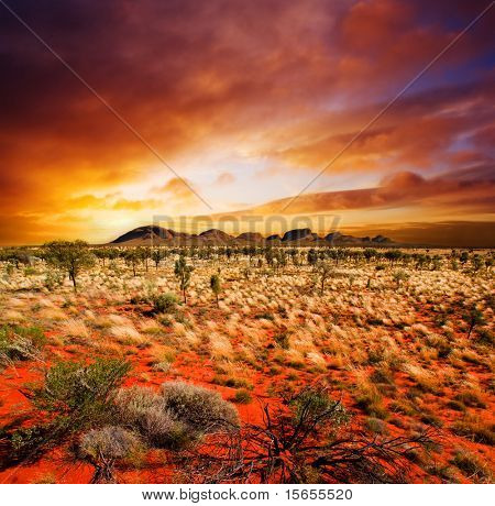 Sunset over a central Australian landscape