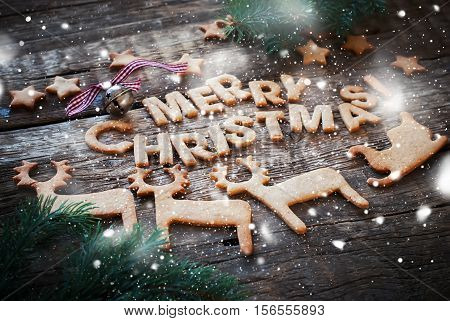 Card Gingerbread Cookies Letters Merry Christmas Figures