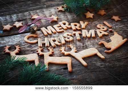 Gingerbread Cookies Letter Merry Christmas Figures