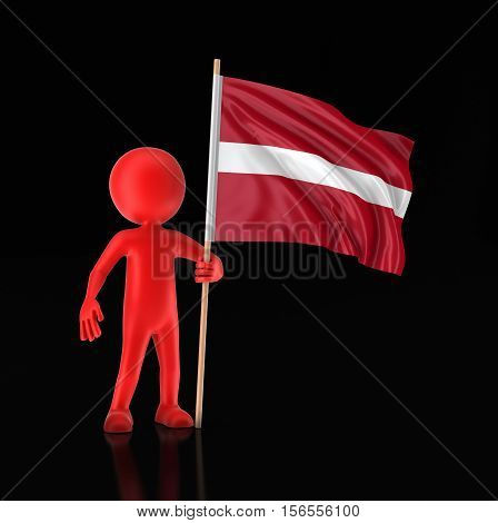 3D Illustration. Man and Latvian flag. Image with clipping path