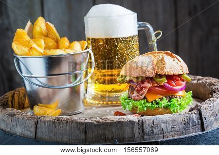 Beer And Tasty Burger With Vegetables, Beef And Pepperoni