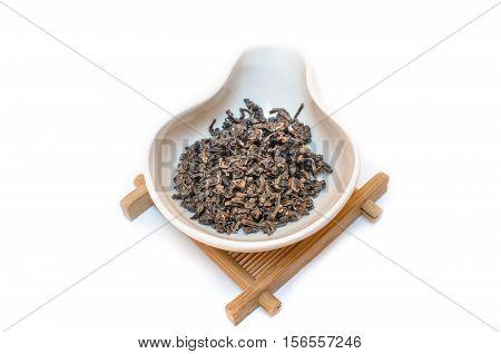 Traditional Chinese tea. Oolong tea. Tea on a white background. Gaba tea