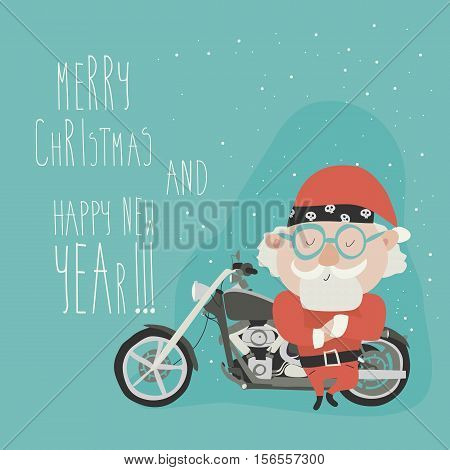 Santa Claus with motorcycle. Vector christmas illustration