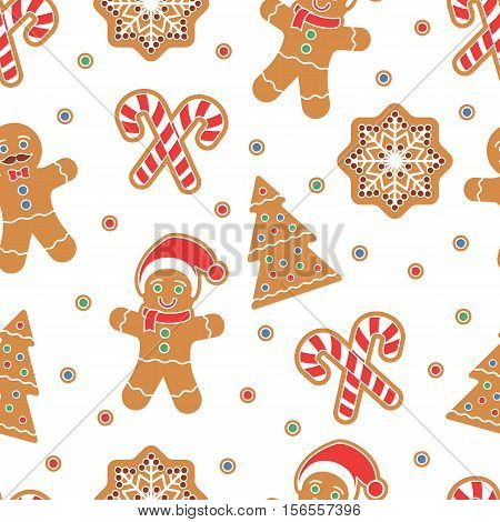 Christmas seamless pattern. Gingerbread man cookies. Snow flake, Christmas Tree, candy cane. Graphic design element for packaging paper, prints, scrapbooking. Holiday themed design