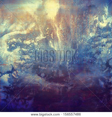 Vintage background, antique grunge backdrop or scratched texture with different color patterns: yellow (beige); brown; blue; purple (violet); cyan