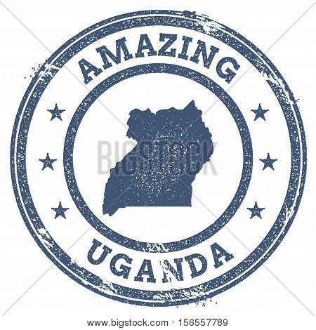 Vintage Amazing Uganda Travel Stamp With Map Outline. Uganda Travel Grunge Round Sticker.
