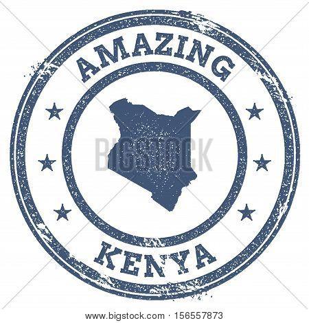 Vintage Amazing Kenya Travel Stamp With Map Outline. Kenya Travel Grunge Round Sticker.