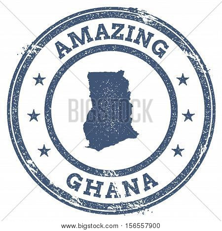 Vintage Amazing Ghana Travel Stamp With Map Outline. Ghana Travel Grunge Round Sticker.