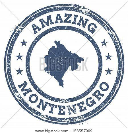 Vintage Amazing Montenegro Travel Stamp With Map Outline. Montenegro Travel Grunge Round Sticker.