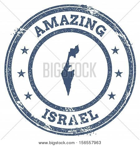 Vintage Amazing Israel Travel Stamp With Map Outline. Israel Travel Grunge Round Sticker.