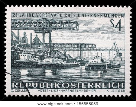 ZAGREB, CROATIA - JULY 02: A stamp printed in Austria shows Voest Linz Hafengelande, 25th Anniversary of Nationalized Enterprise, circa 1971, on July 02, 2014, Zagreb, Croatia