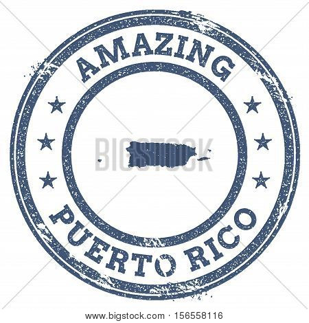 Vintage Amazing Puerto Rico Travel Stamp With Map Outline. Puerto Rico Travel Grunge Round Sticker.