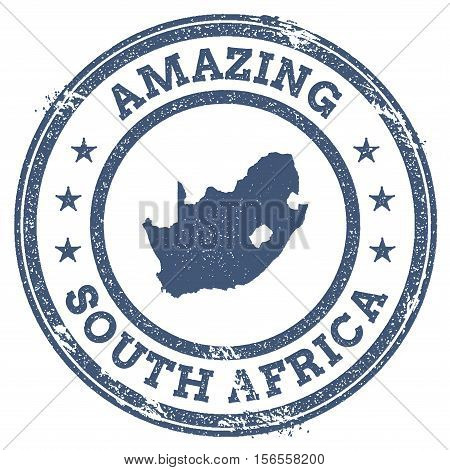 Vintage Amazing South Africa Travel Stamp With Map Outline. South Africa Travel Grunge Round Sticker