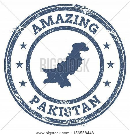 Vintage Amazing Pakistan Travel Stamp With Map Outline. Pakistan Travel Grunge Round Sticker.