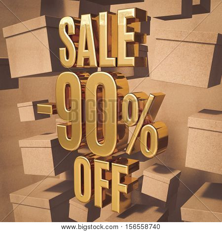 3d render: Golden 90 Percent Off Discount Sign with Boxes, Gold Special Offer 90% Discount Tag, Sticker