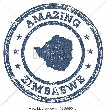 Vintage Amazing Zimbabwe Travel Stamp With Map Outline. Zimbabwe Travel Grunge Round Sticker.
