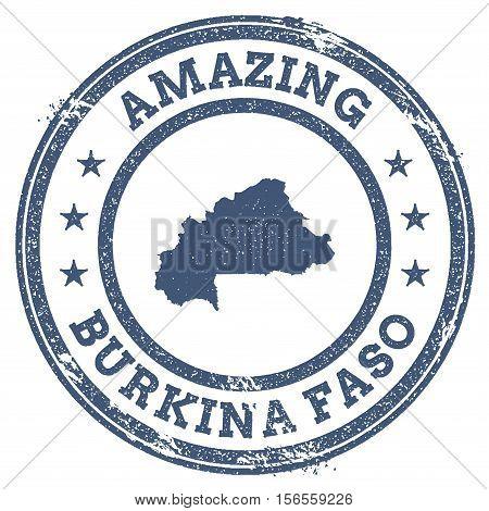 Vintage Amazing Burkina Faso Travel Stamp With Map Outline. Burkina Faso Travel Grunge Round Sticker