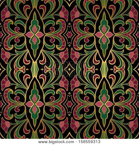 Bright floral ornament. Templates for carpet shawl wallpaper textile and any surface. Seamless vector pattern of pink green and purple tones.