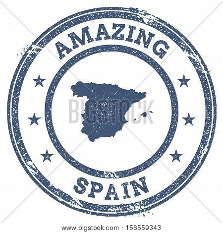 Vintage Amazing Spain Travel Stamp With Map Outline. Spain Travel Grunge Round Sticker.