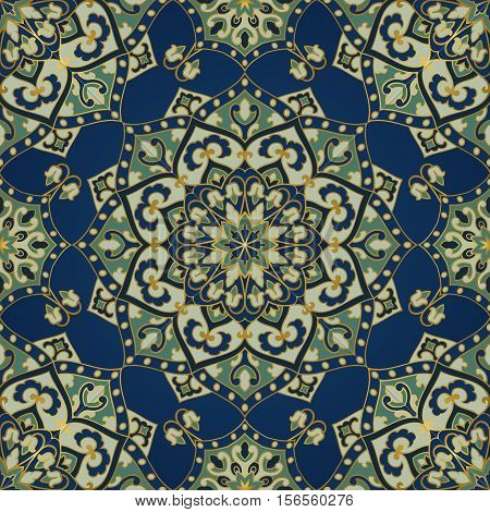 Seamless vector background. The pattern with filigree mandalas. Oriental blue and green ornament. Template for carpet textile.