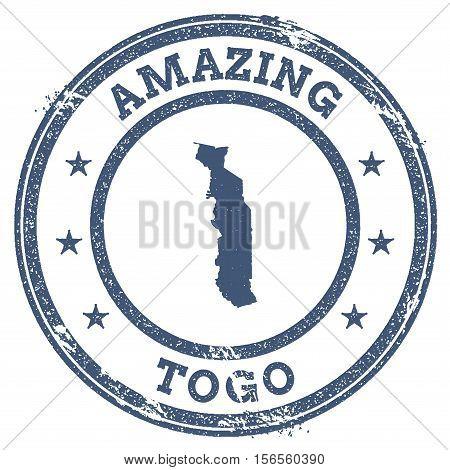 Vintage Amazing Togo Travel Stamp With Map Outline. Togo Travel Grunge Round Sticker.