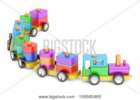 Wooden toy train with colorful blocs 3D rendering