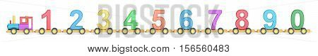 Wooden toy train with colorful blocs 3D rendering isolated on white background