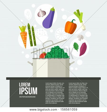 Conceptual illustration of healthy food around a pan. Diet concept. Place for your text. Banner or flyer with healhy vegetables. Flat vector.