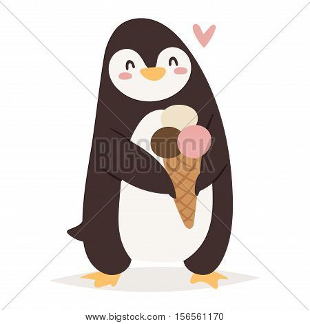 Penguin vector illustration character. Cartoon funny penguin cute character isolated. Penguin vector cute bird posing. Holiday penguin holding icecream
