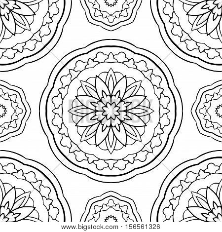 Seamless vector background. The pattern with mandalas. Oriental black and white ornament. Simple template for textile molding carpet.