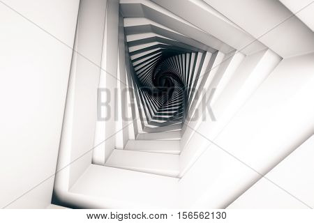 Abstract patterned tunnel with light at the end. 3D Rendering