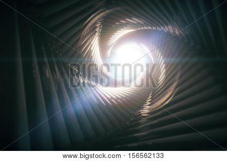 Dark patterned tunnel with light at the end. 3D Rendering