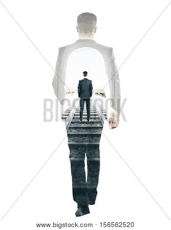 Businessman walking on railway tracks and silhouette on white background. Double exposure. Research and solitude concept