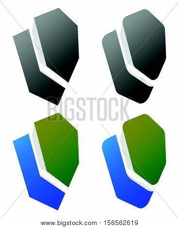 Set Of Overlapping Shield Icons / Signs. (rounded, Edgy And Colored, Uncolored Versions)