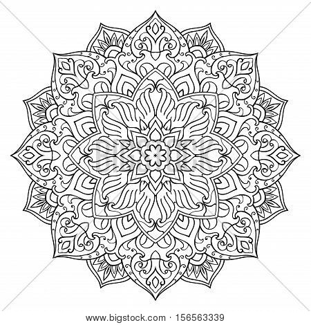 Vector floral mandala. Oriental stylized design element. Symbolic black and white ornament.