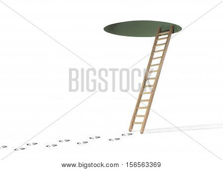 Footprints of Person Leading to a Wooden Ladder and Hole in Ceiling