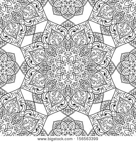 Seamless pattern of symbolic mandala on a white background. Oriental ornament. Template for carpet shawl wallpaper embroidery.