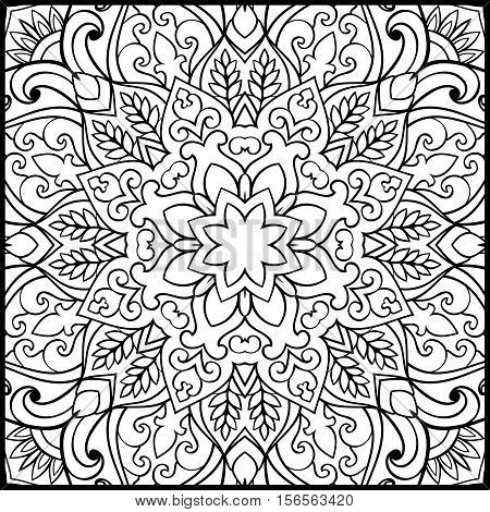 Pattern of symbolic mandala on a white background. Oriental ornament. Template for carpet shawl embroidery.