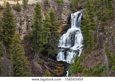 Closeup view of Undine Falls in Yellowstone National Park.
