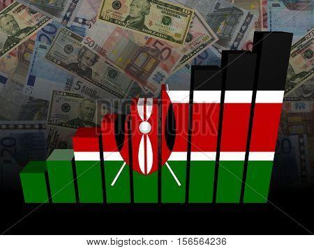 Kenyan flag bar chart over dollars and Euros background 3d illustration
