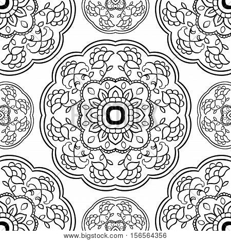 Seamless vector background. The pattern with floral simple mandalas. Oriental black and white ornament. Template for textile molding carpet.