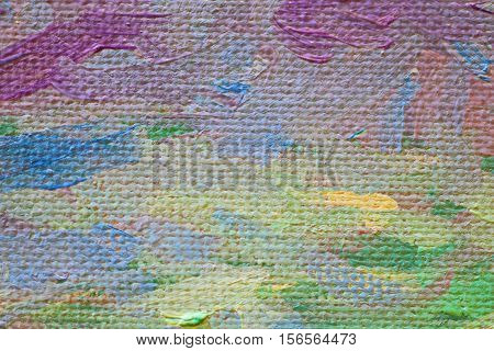 Oil Painting colorfull  close up texture pallete knife storkes of brown yellow  gray red green blue white color