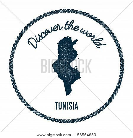 Vintage Discover The World Rubber Stamp With Tunisia Map. Hipster Style Nautical Postage Stamp, With