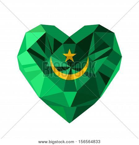 Vector crystal gem jewelry Mauritanian heart with the flag of the Islamic Republic of Mauritania. Flat style logo symbol of love Mauritania. North Africa. Independence Day November 28.
