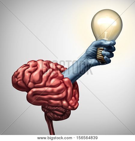 Find inspiration concept as an arm holding an illuminated lightbulb emerging out of a brain as an innovation metaphor for the power of ideas and creative inspiration success with 3D illustration elements.