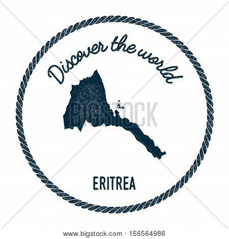 Vintage Discover The World Rubber Stamp With Eritrea Map. Hipster Style Nautical Postage Stamp, With